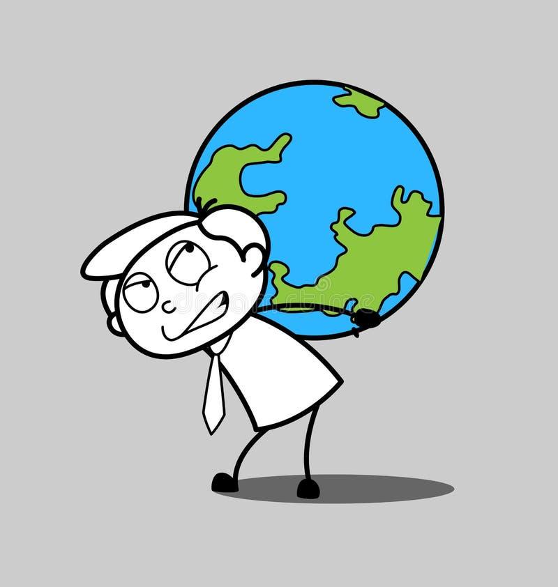 Karikatur-Geschäftsmann Carrying eine Erde vektor abbildung