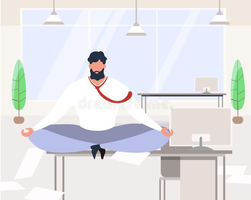 Karikatur-Gesch?ftsmann Meditating Sit auf Tabellen-B?ro lizenzfreie abbildung
