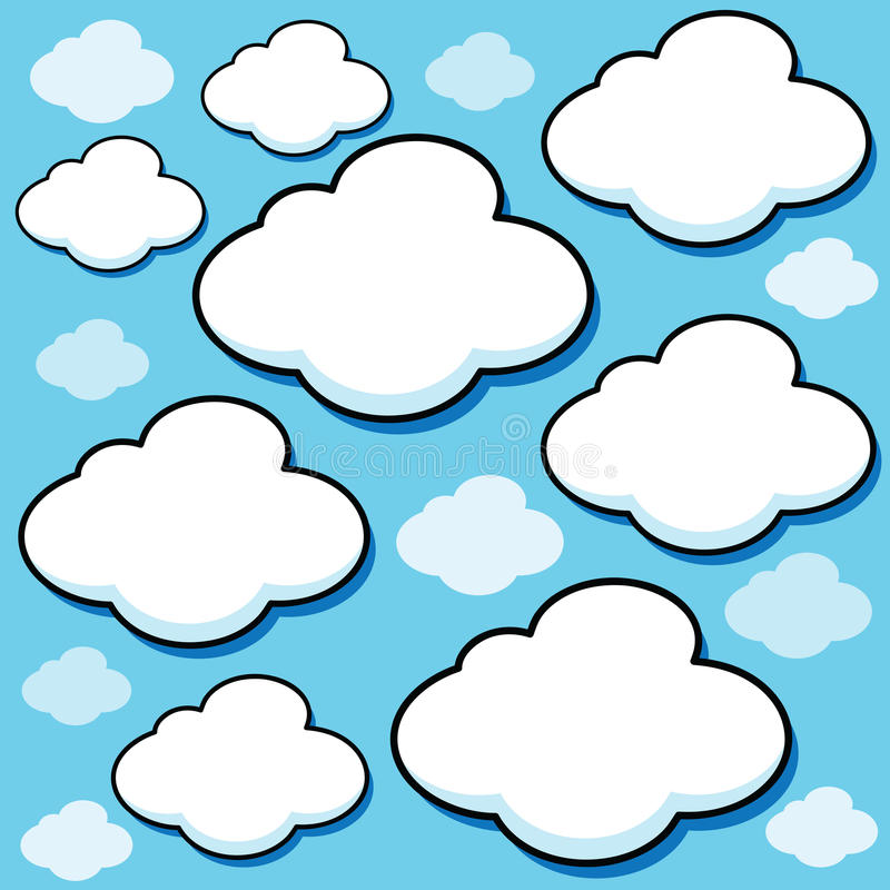 Karikatur-geschwollene Wolken vektor abbildung