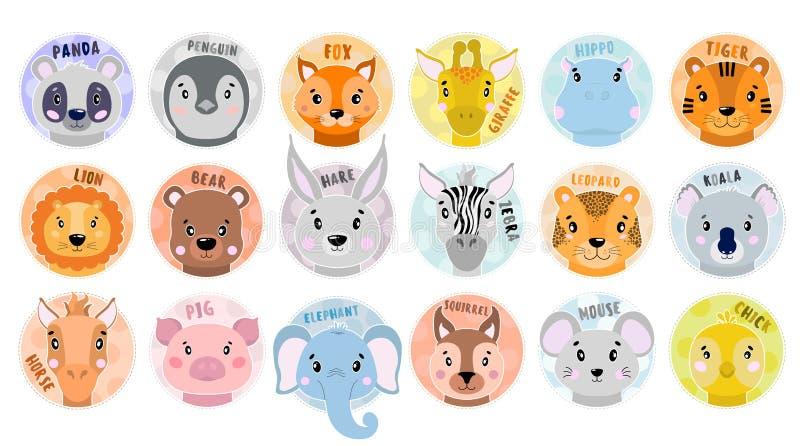 Karikatur-gesetztes Vektor-Tiergesicht Panda, Fuchs, Zebra, Elefant, Löwe, Schwein, Bär, Küken, Koala, Tiger, Hase, Leopard, Pfer lizenzfreie abbildung