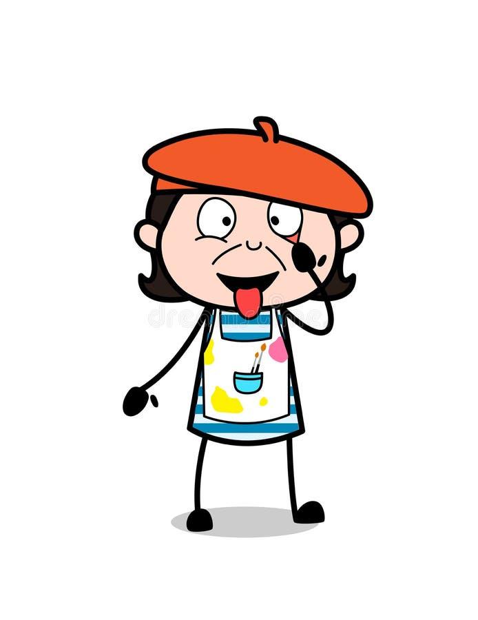 Karikatur-Gesicht mit Zungen-aus- Karikatur-Künstler Vector Illustration lizenzfreie abbildung