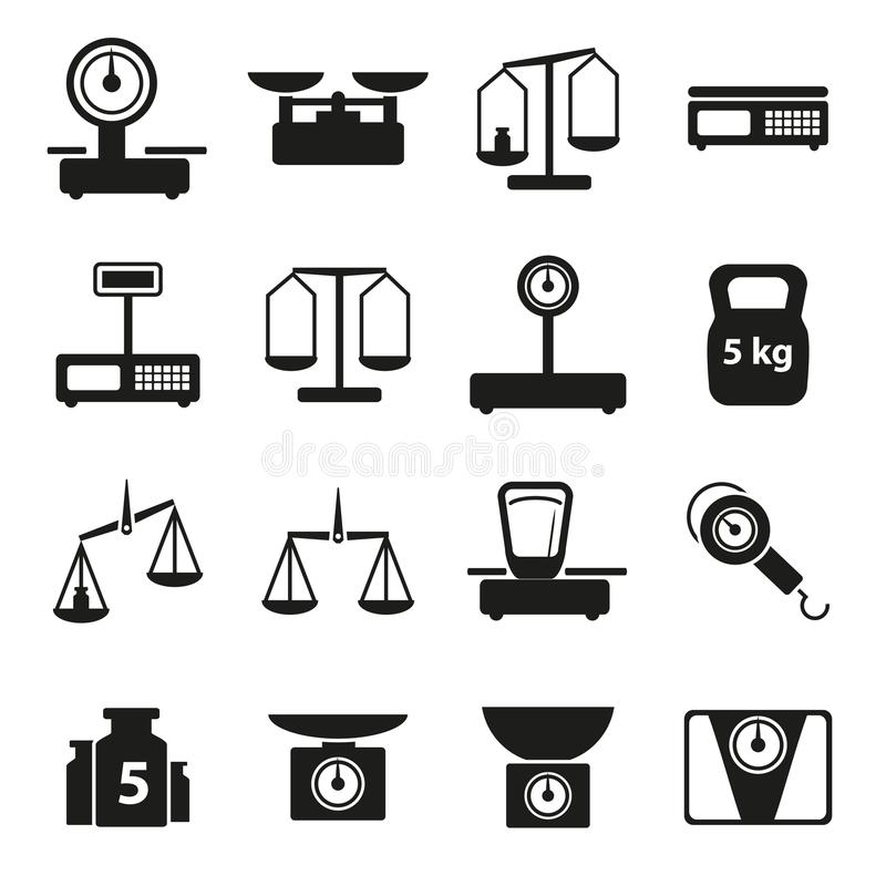 Karikatur-Gewicht stuft eingestellten die Schattenbild-schwarzen Ikonen ein Vektor stock abbildung