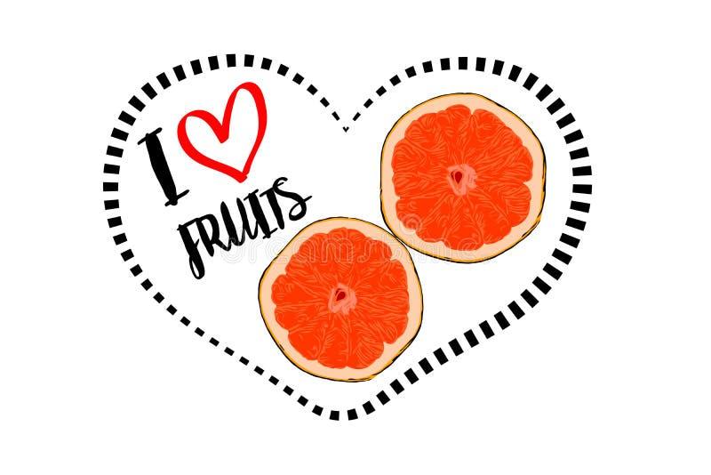 Karikatur gezeichnet zwei Stücken orange Frucht mit dem inneren Herzen lokalisiert auf weißem Hintergrund vektor abbildung