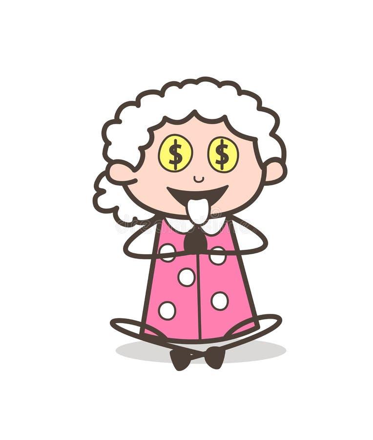 Karikatur-gierige Oma für Geld-Vektor-Illustration lizenzfreie abbildung