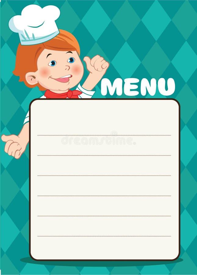 Karikatur-glücklicher Koch Boy With eine Küchen-Zubehör, Vektor-Bild Café-Menü-Schablone lizenzfreie abbildung