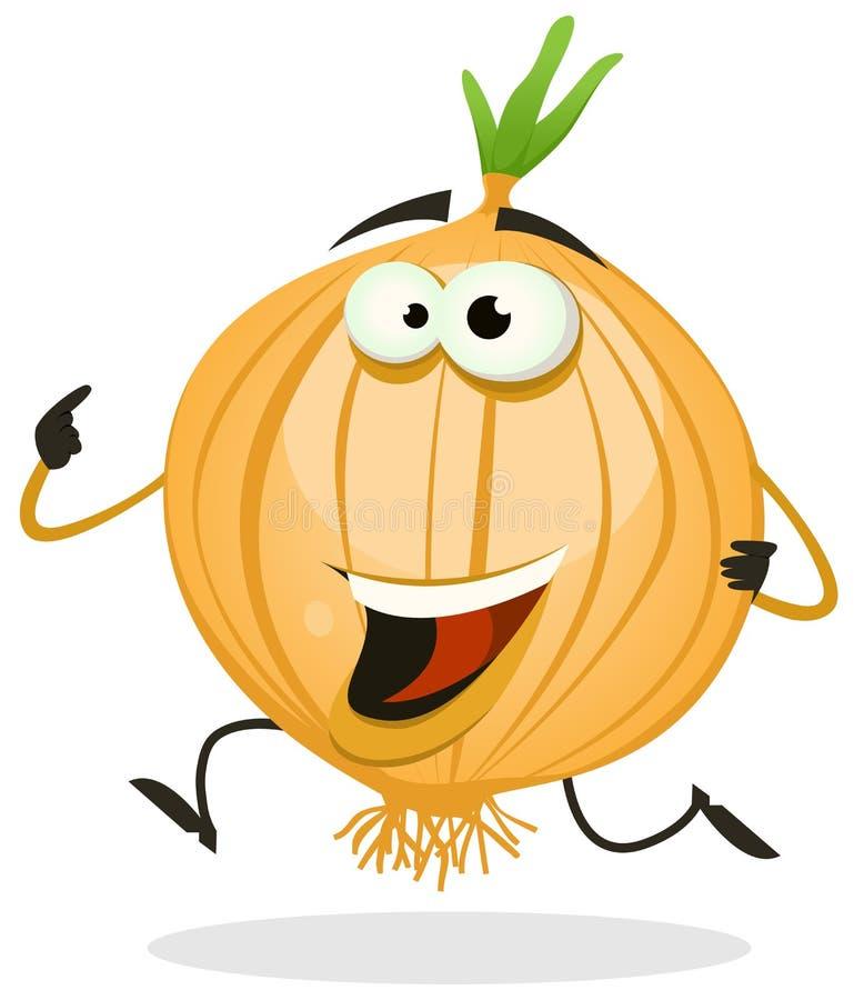 Karikatur-glücklicher Zwiebel-Charakter stock abbildung