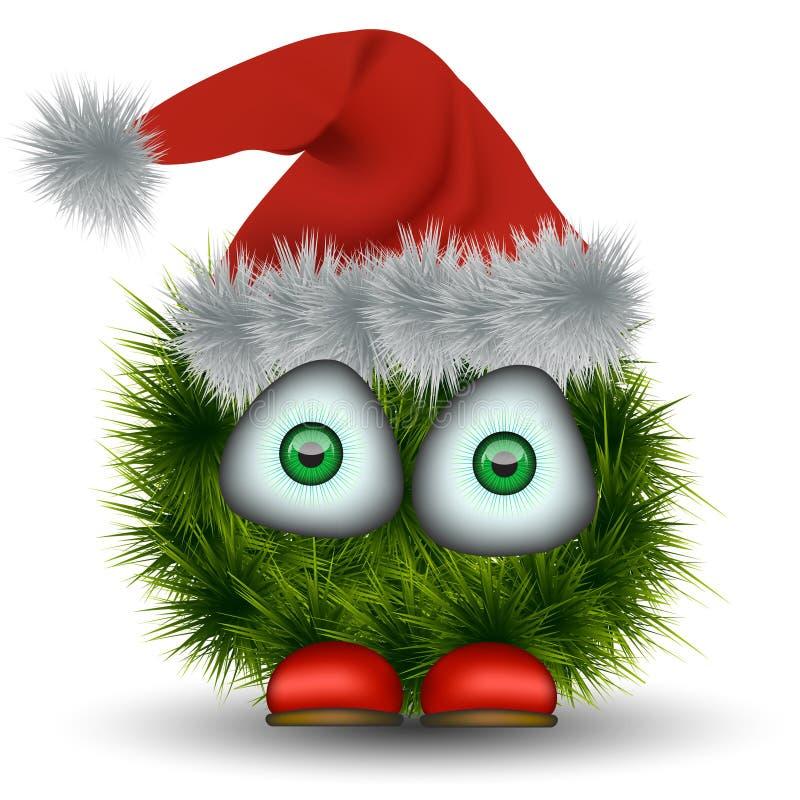 Karikatur grüner Weihnachtsmann lizenzfreie abbildung