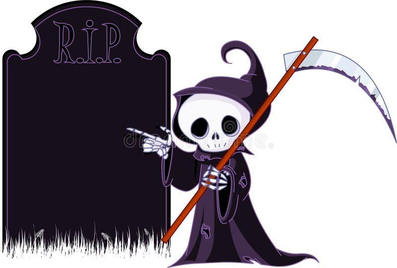 Karikatur grimmiger Reaper, der auf Finanzanzeige zeigt lizenzfreie abbildung