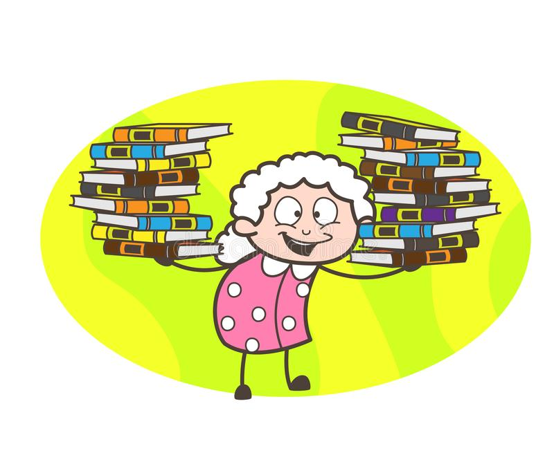 Karikatur-Großmutter, die Menge der Buch-Vektor-Illustration darstellt lizenzfreie abbildung