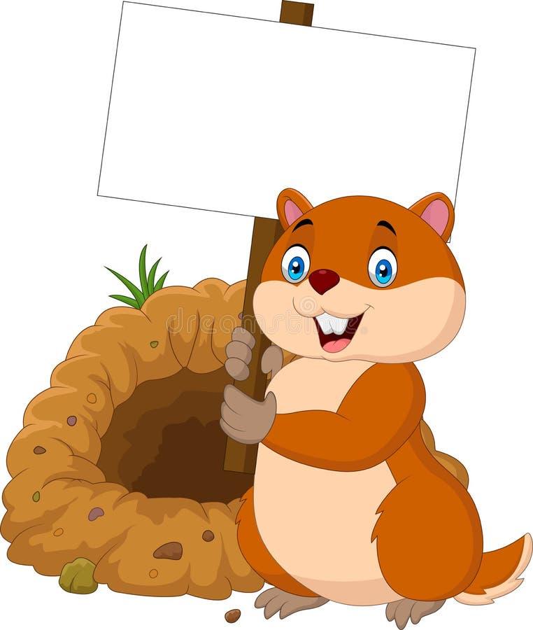 Karikatur groundhog, das leeres Zeichen hält lizenzfreie abbildung
