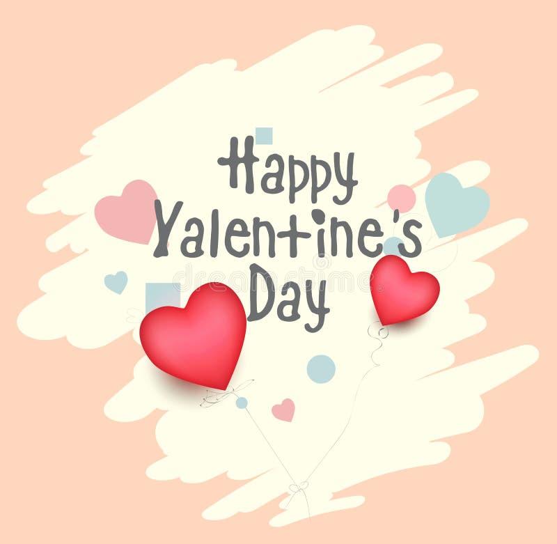 Karikatur-Grußkarte des glücklichen Valentinstags reizende mit Winter-Kartenvektor des Herzens kreative Hand gezeichnetem, Elemen stock abbildung