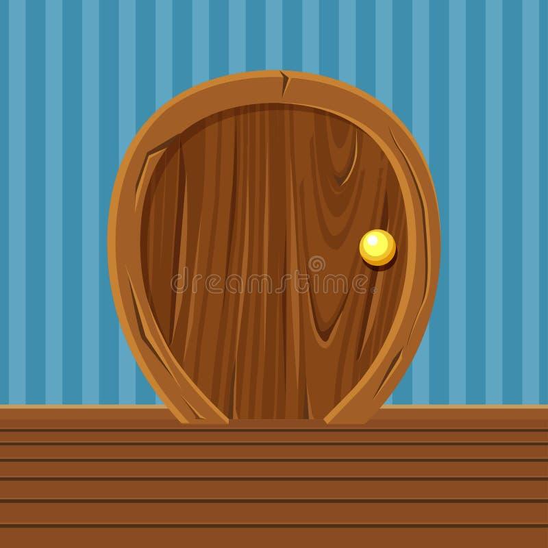 Karikatur-hölzerne gerundete Tür für, Hauptinnenraum stock abbildung