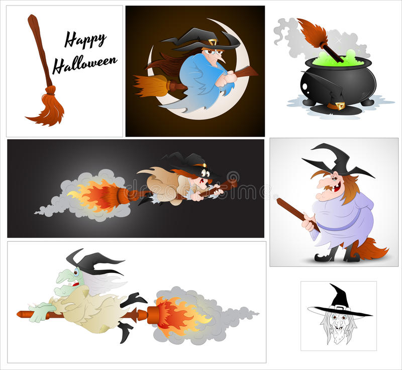 Karikatur-Halloween-Hexen-Vektoren vektor abbildung