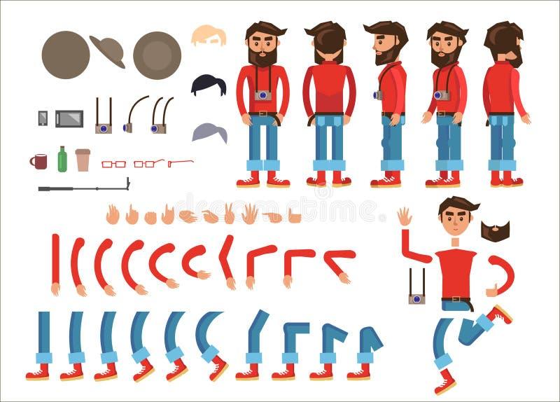 Karikatur-Hippie-Mann-Charakter-Vektor-Erbauer lizenzfreie abbildung