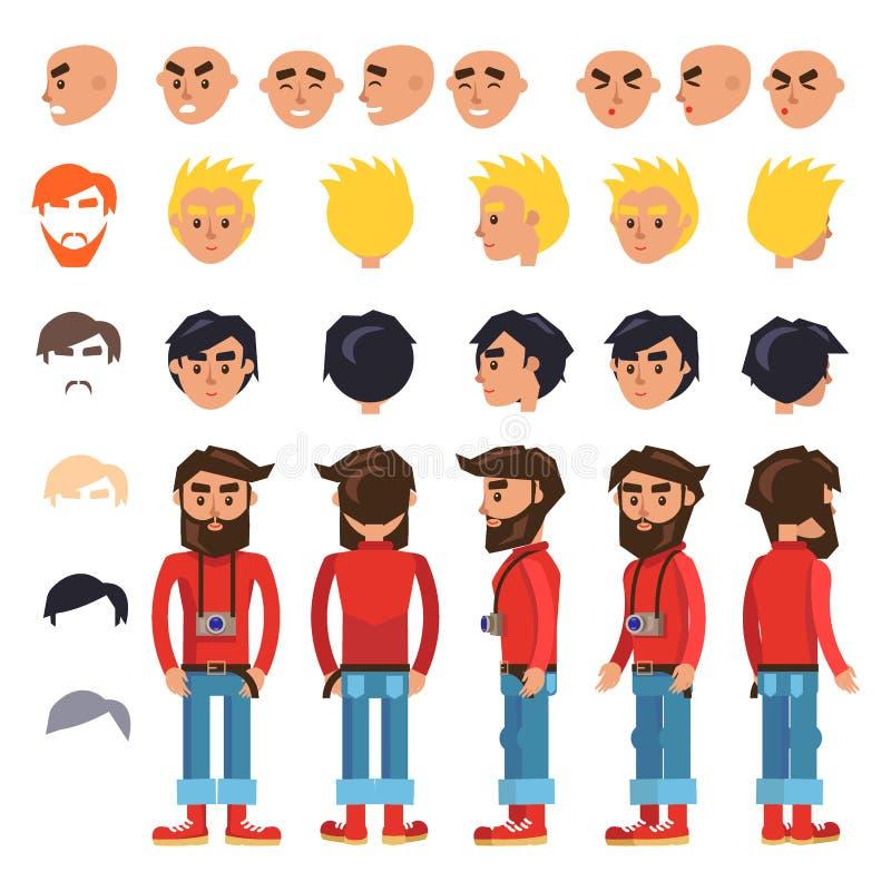 Karikatur-Hippie-Mann-Charakter-Vektor-Erbauer vektor abbildung