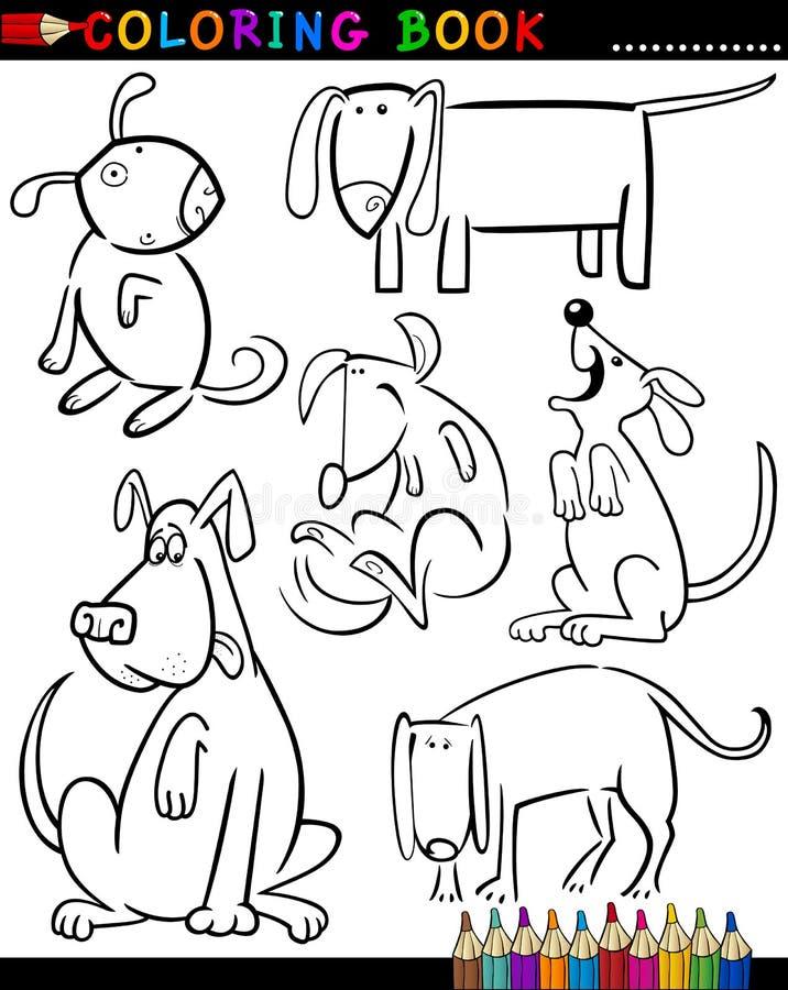 Karikatur-Hunde für Farbton-Buch oder Seite vektor abbildung