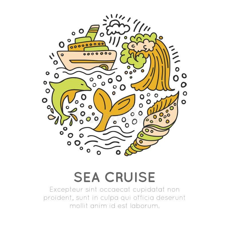 Karikatur-Ikonenkonzept des Seekreuzfahrthandabgehobenen betrages Wellen, Zwischenlage oder Schiff, Wal, dekorative Elemente des  lizenzfreie abbildung