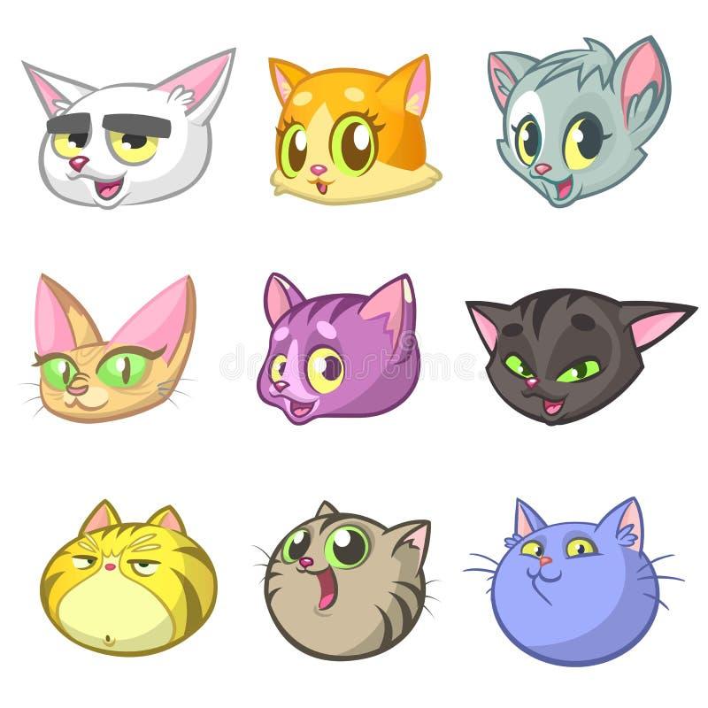 Karikatur-Illustration des unterschiedlichen glücklichen Katzen ot Kätzchen-Kopf-Sammlungs-Satzes Vektorsatz bunte Katzenikonen lizenzfreie abbildung
