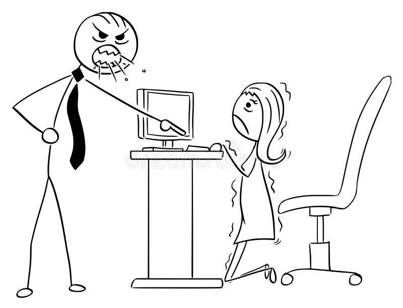 Karikatur-Illustration des verärgerten Chef-Managers Screaming am Geschäft lizenzfreie abbildung
