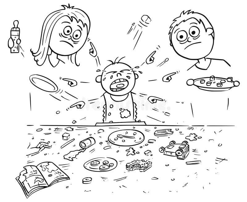 Karikatur-Illustration des verdorbenen verdorbenen schreienden Babys, das Verwirrung DU tut stock abbildung