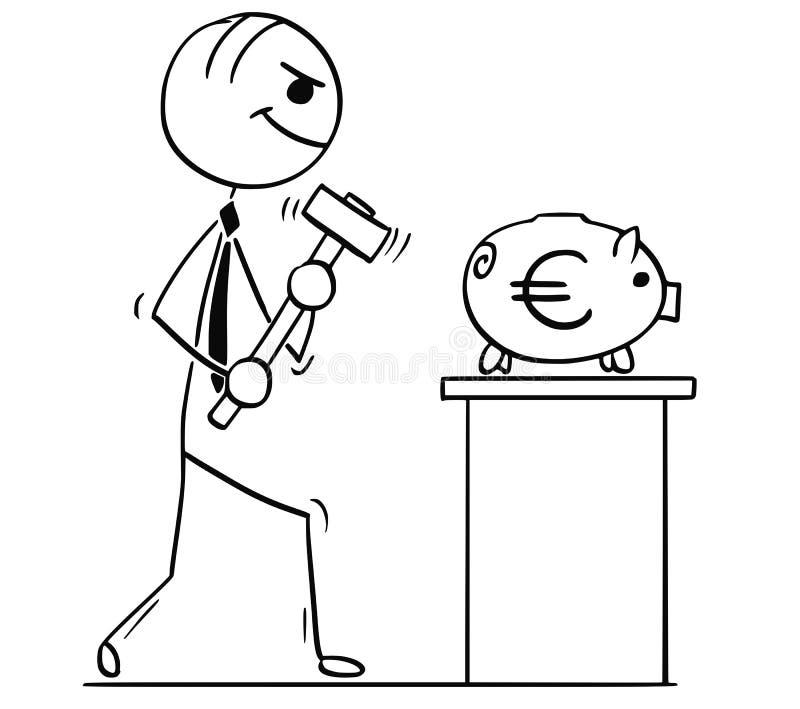 Karikatur-Illustration von Geschäftsleuten mit dem Hammer und Euro Piggy lizenzfreie abbildung