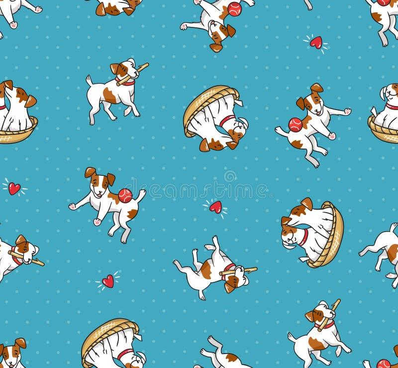 Karikatur Jack Russell Terriers Welpen, die mit Bällen spielen Auch im corel abgehobenen Betrag Lustiges Design mit Hunden lizenzfreie abbildung