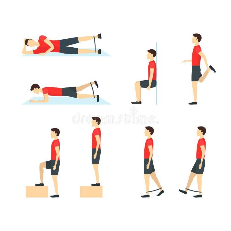 Karikatur-Jumper Knee Rehabilitation Exercise Card-Plakat Vektor stock abbildung