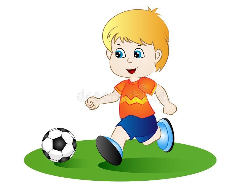 Karikatur-Junge, der Fußball spielt stock abbildung
