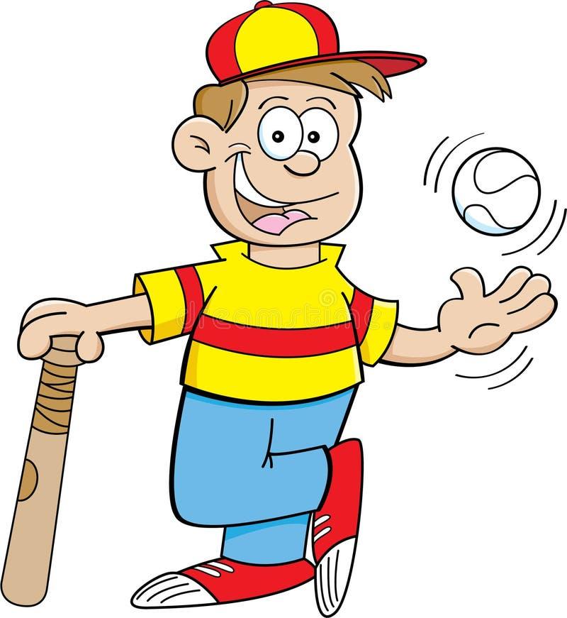 Karikatur-Junge mit einem Baseball und einem Schläger stock abbildung