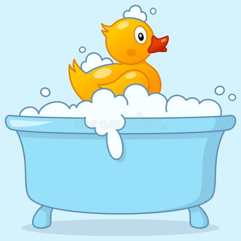 Karikatur-Jungen-Badewanne mit Gummiente stock abbildung