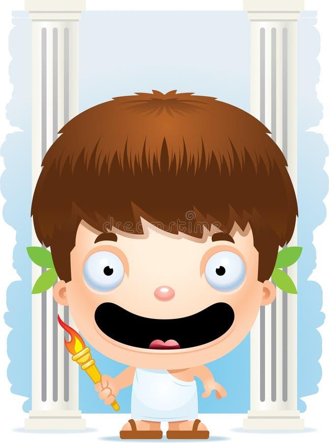 Karikatur-Jungen-olympisches Lächeln stock abbildung
