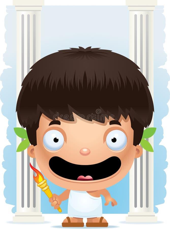 Karikatur-Jungen-olympisches Lächeln lizenzfreie abbildung
