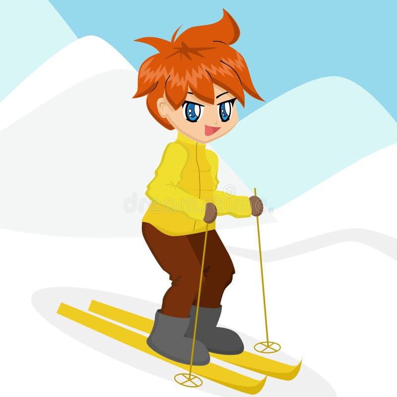 Karikatur-Jungen-Skifahren lizenzfreie abbildung