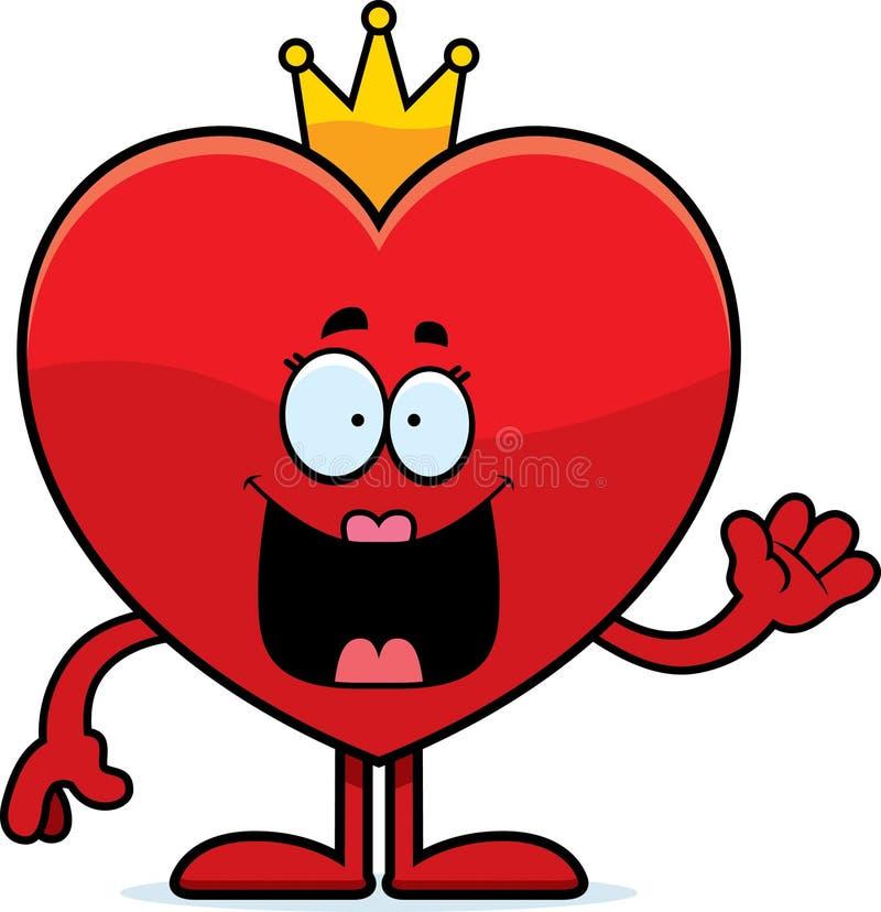 Karikatur-Königin des Herz-Wellenartig bewegens vektor abbildung