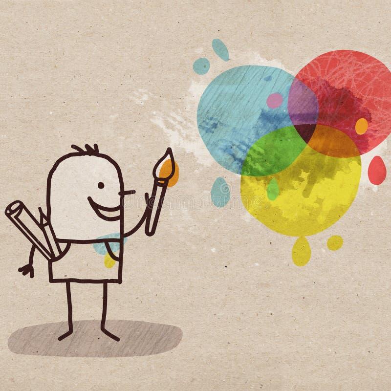 Karikatur-Künstler und Farben vektor abbildung