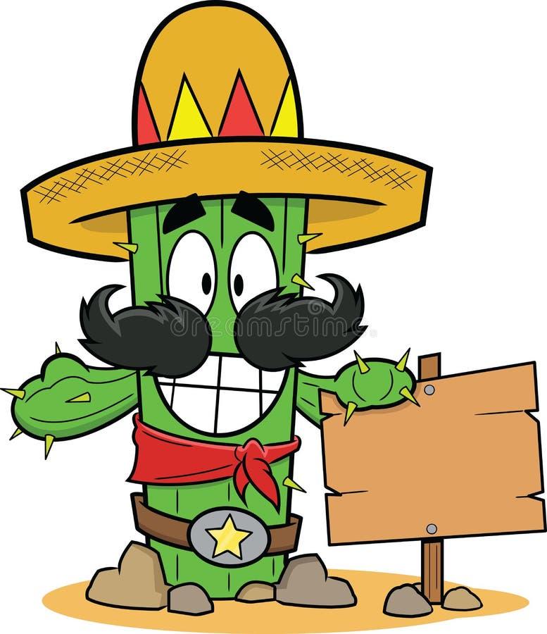 Karikatur-Kaktus mit Zeichen lizenzfreie abbildung