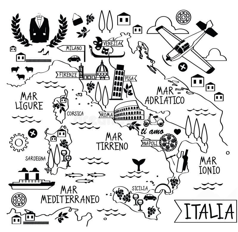 Karikatur-Karte von Italien stock abbildung