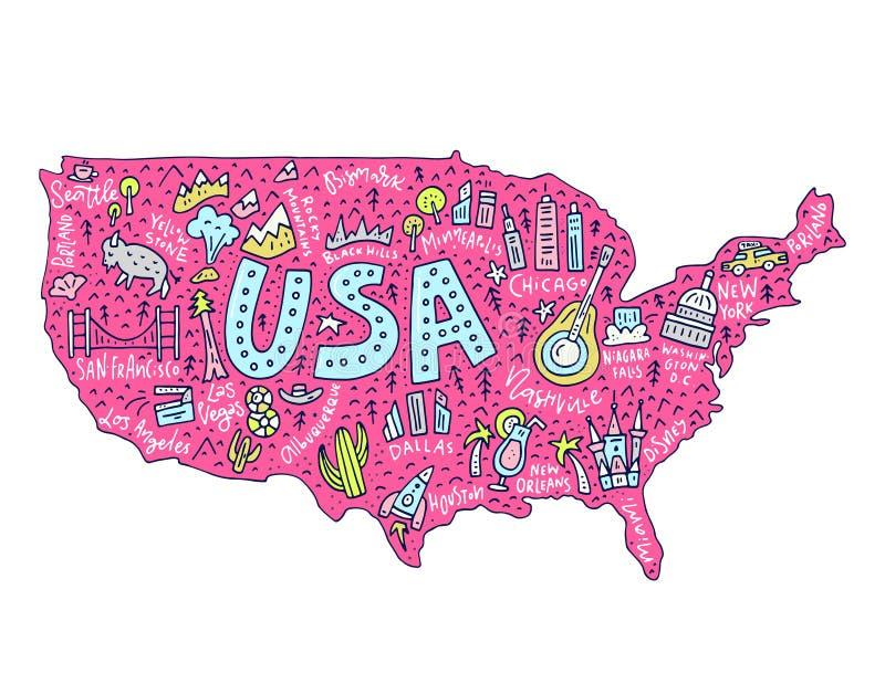 Karikatur-Karte von USA stock abbildung