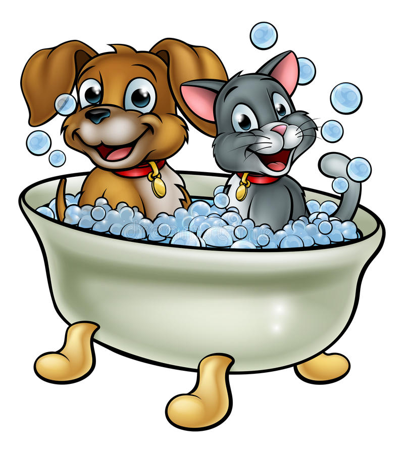 Karikatur-Katze und Hund, die im Bad sich waschen lizenzfreie abbildung
