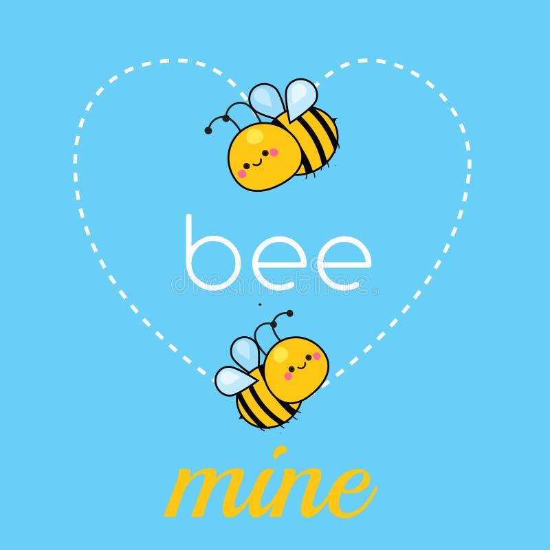 Karikatur kawaii Bienen Nette lustige Charaktere mit Typografiebienenbergwerk Illustration für Tag des Valentinsgrußes s und roma stock abbildung