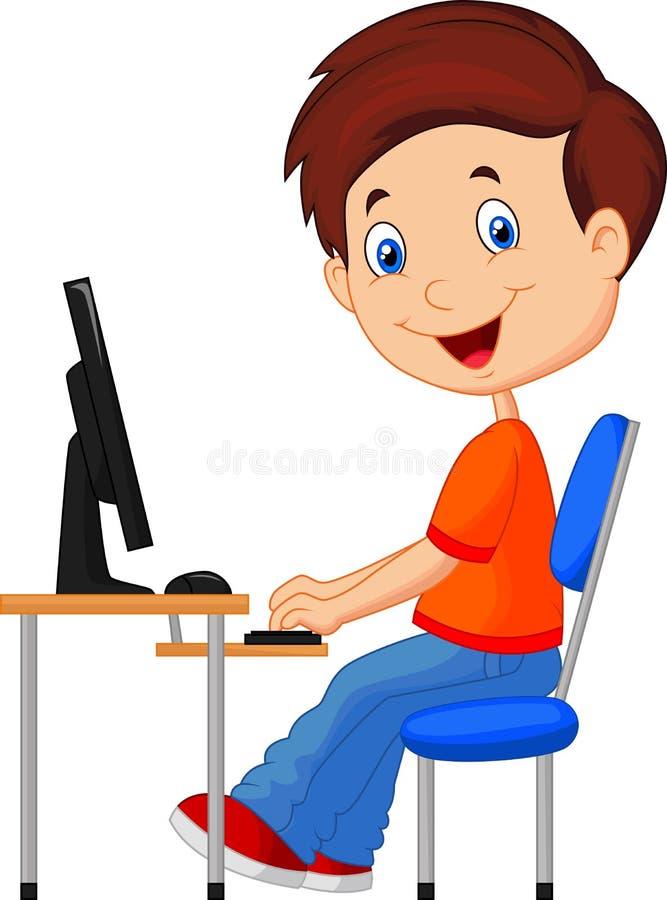Karikatur-Kind mit Personal-Computer lizenzfreie abbildung