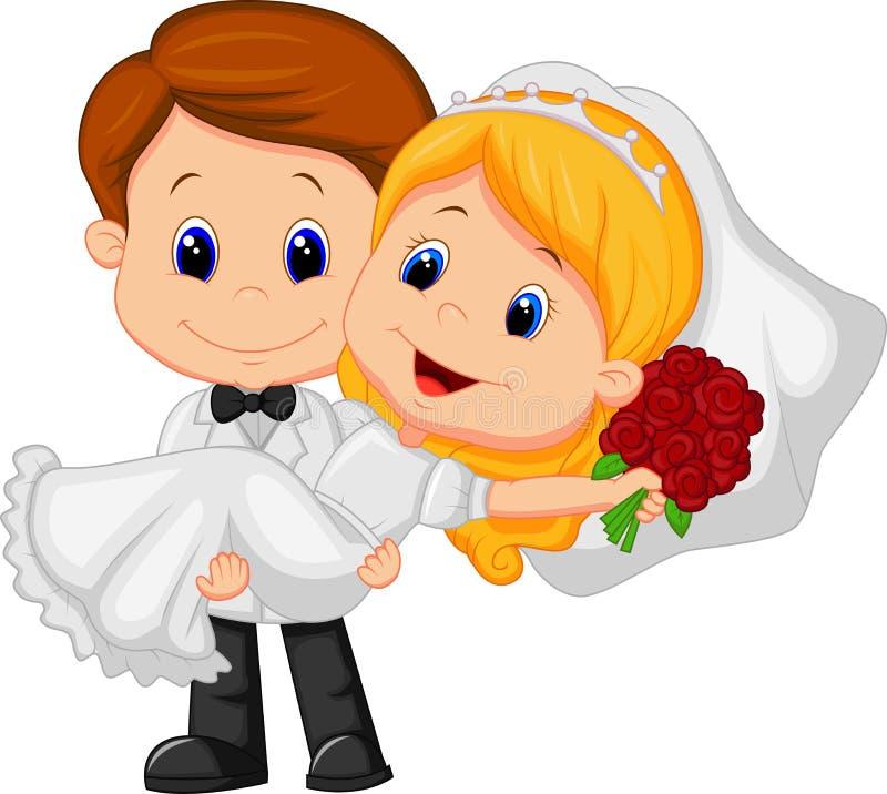 Karikatur-Kinder, die Braut und Bräutigam spielen lizenzfreie abbildung