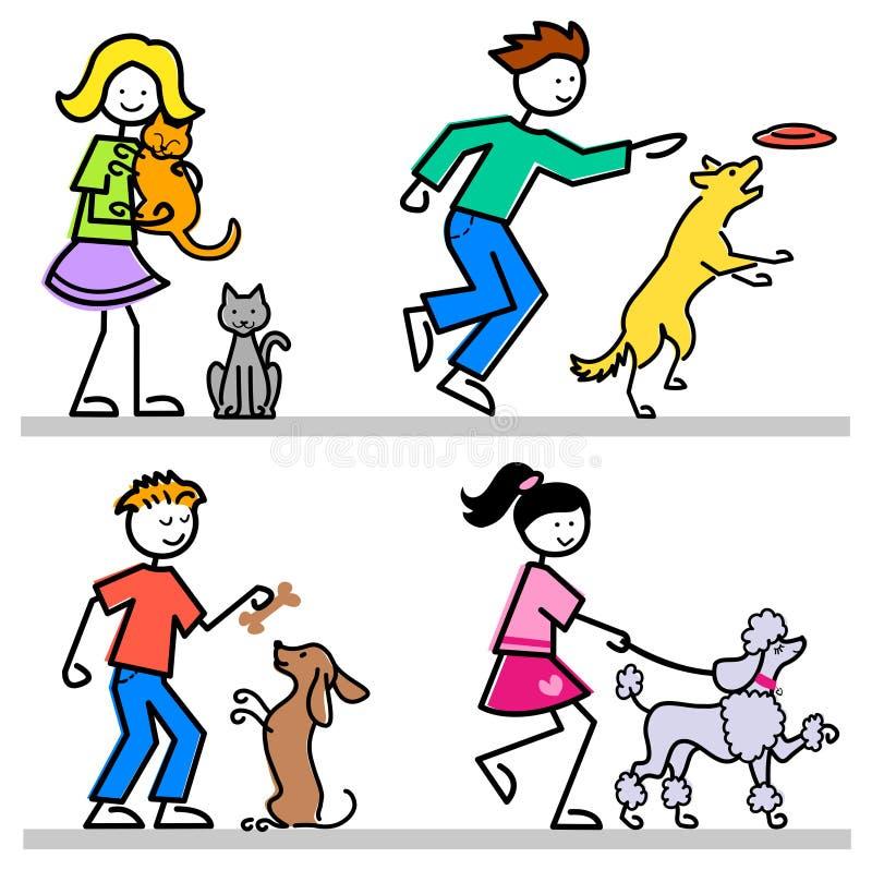 Karikatur-Kinder mit Haustieren