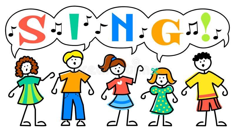 Karikatur-Kinder singen Musik
