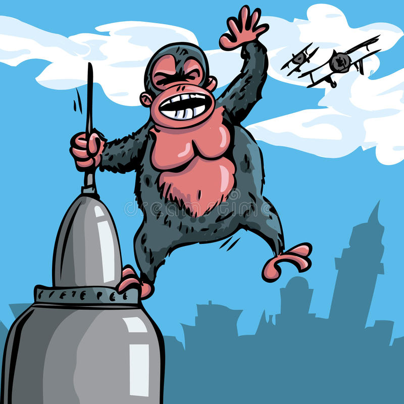 Karikatur King Kong, der an einem Wolkenkratzer hängt lizenzfreie abbildung