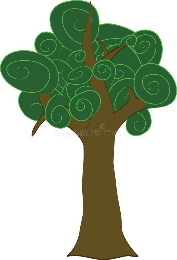 Karikatur-klumpiger Strudel-Baum stock abbildung