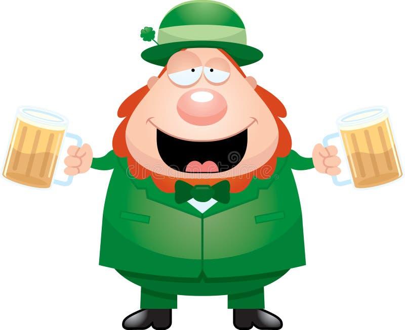 Karikatur-Kobold-trinkendes Bier lizenzfreie abbildung