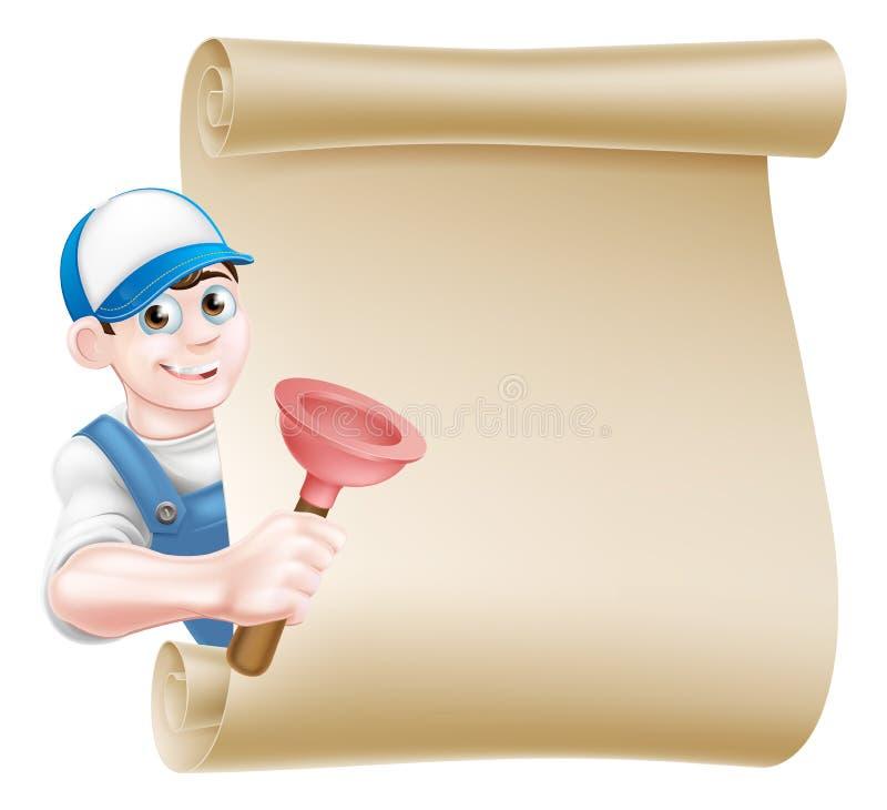 Karikatur-Kolben-Klempner lizenzfreie abbildung