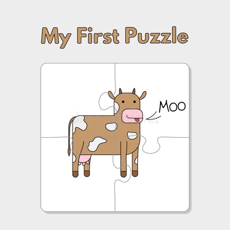 Karikatur-Kuh-Puzzlespiel-Schablone für Kinder lizenzfreie abbildung
