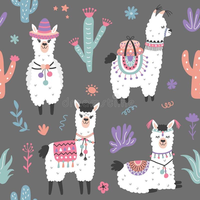 Karikatur-Lama-Alpaka-nahtloses Muster lizenzfreie abbildung